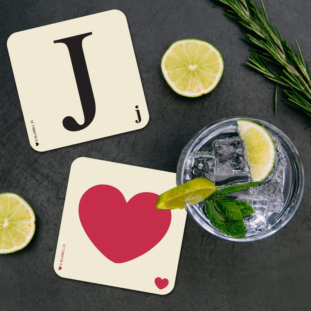 J' Letter Scrabble Coaster - Bluebell 33