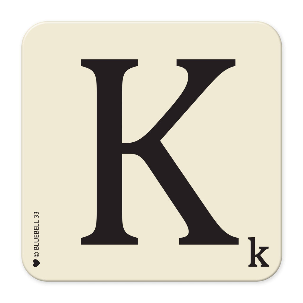 K' Letter Scrabble Coaster - Bluebell 33