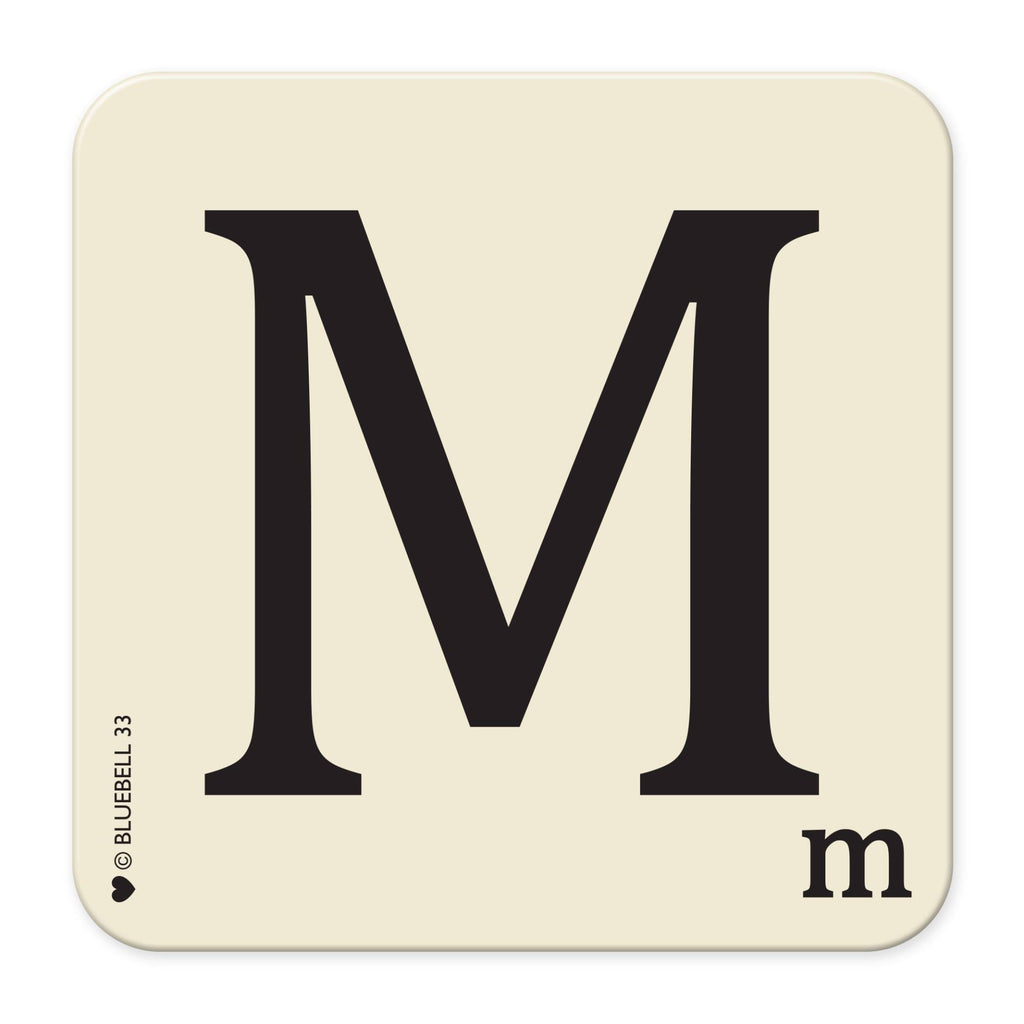 M' Letter Scrabble Coaster - Bluebell 33