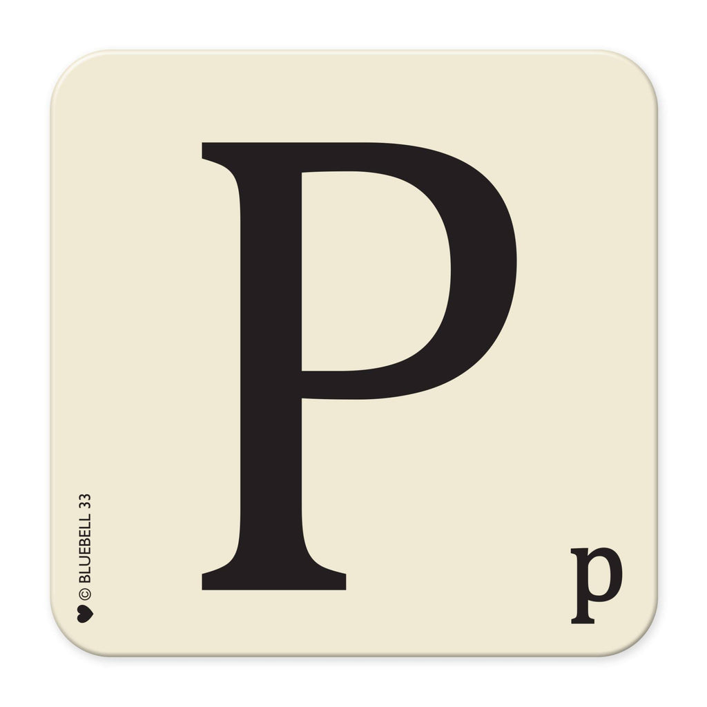 P' Letter Scrabble Coaster - Bluebell 33