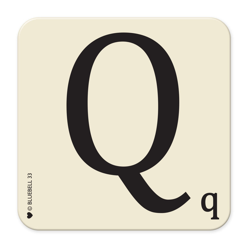 Q' Letter Scrabble Coaster - Bluebell 33