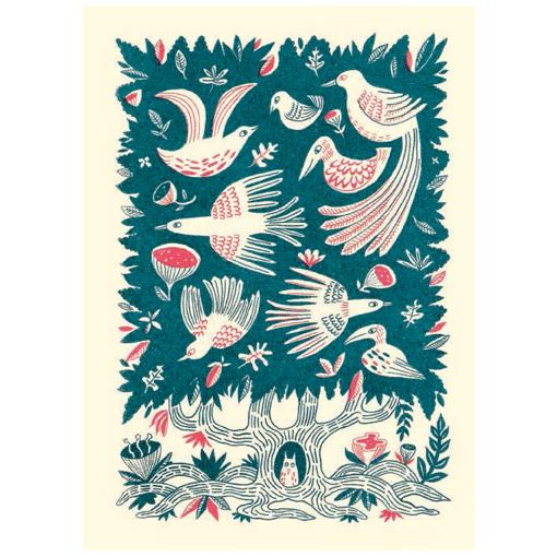 Tree of Birds Greeting Card - Canns Down Press by Mellisa Castrillon
