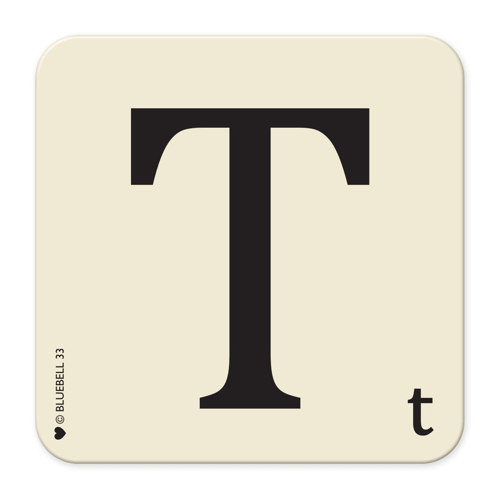 T' Letter Scrabble Coaster - Bluebell 33