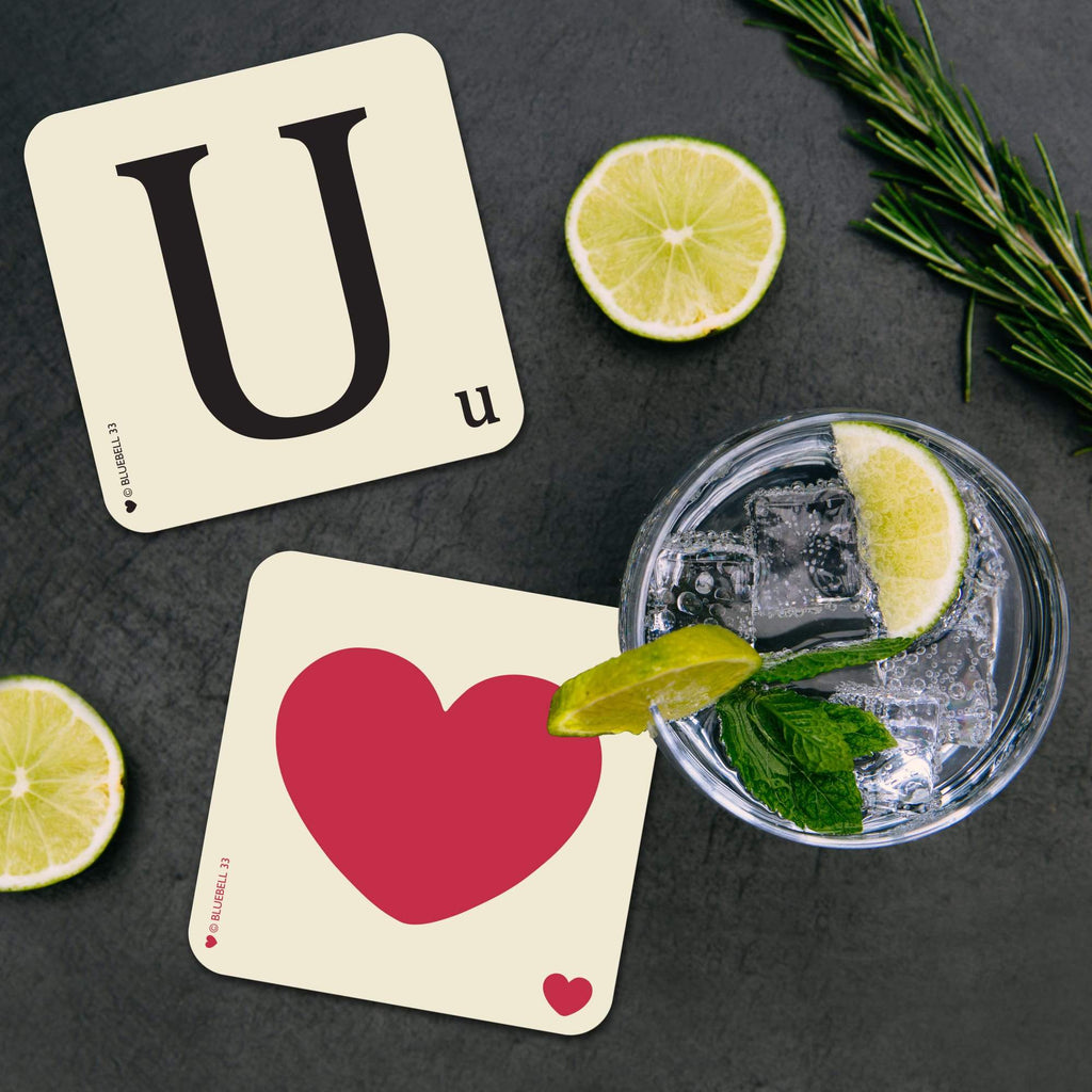 U' Letter Scrabble Coaster - Bluebell 33