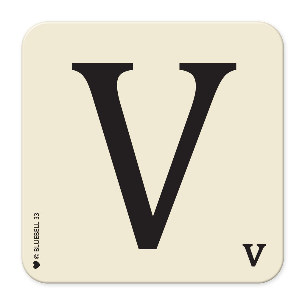 V' Letter Scrabble Coaster - Bluebell 33