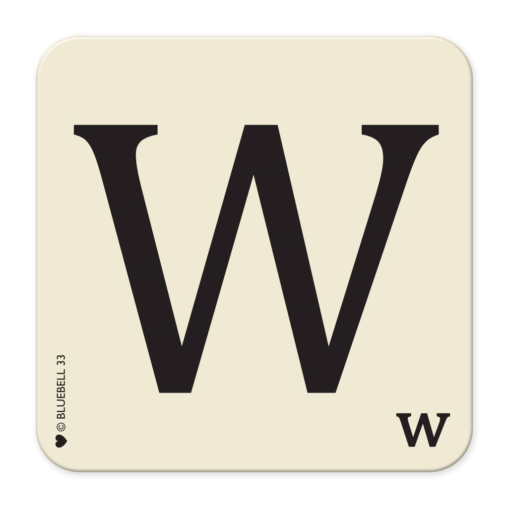 W' Letter Scrabble Coaster - Bluebell 33
