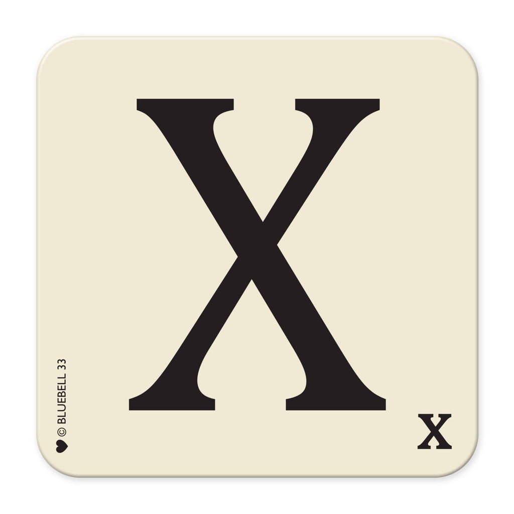 X' Letter Scrabble Coaster - Bluebell 33