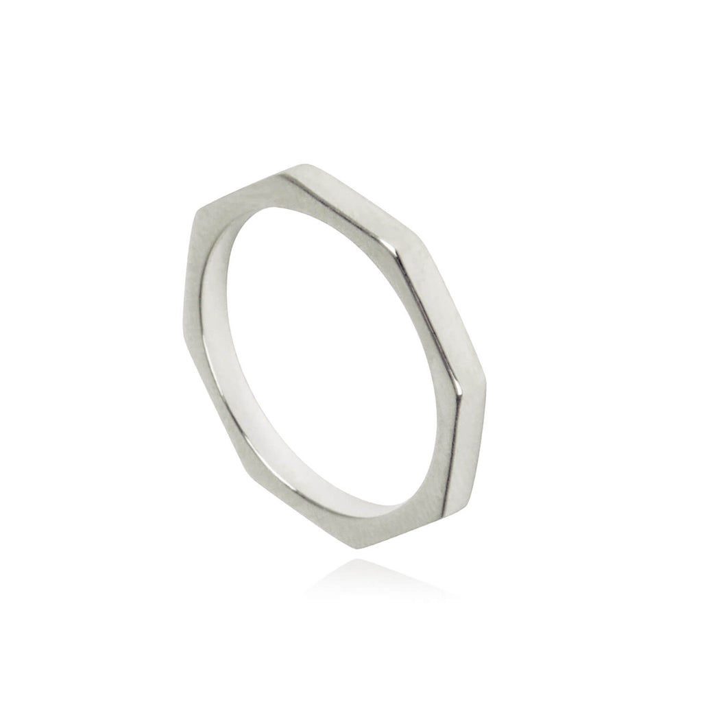 Matthew Calvin Octagon Bolt Ring - Silver