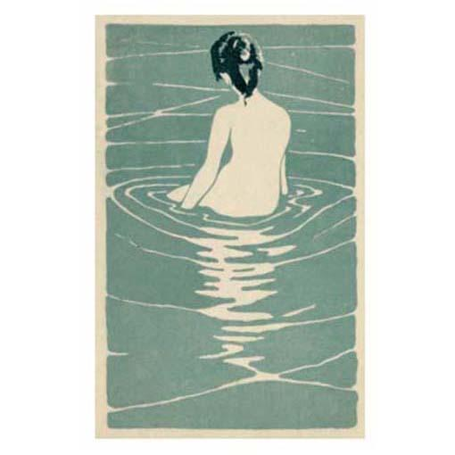 Female Nude Seated In Water Greeting Card - Canns Down Press by Unknown