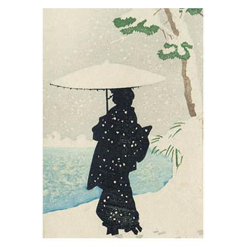 Woman Walking Along Riverbank In The Snow Greeting Card - Canns Down Press