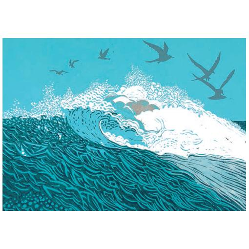 Big Wave Greeting Card - Canns Down Press by Linda Richardson