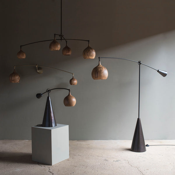 Oiled bronze counterweighted floor lamp
