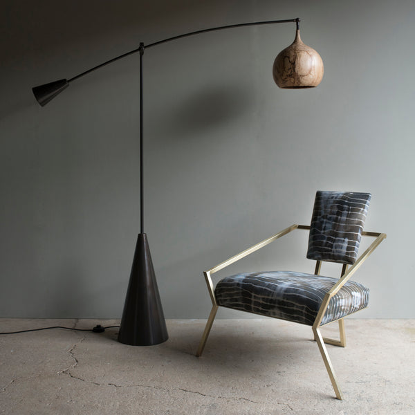 Curated sustainable timber floor lamp