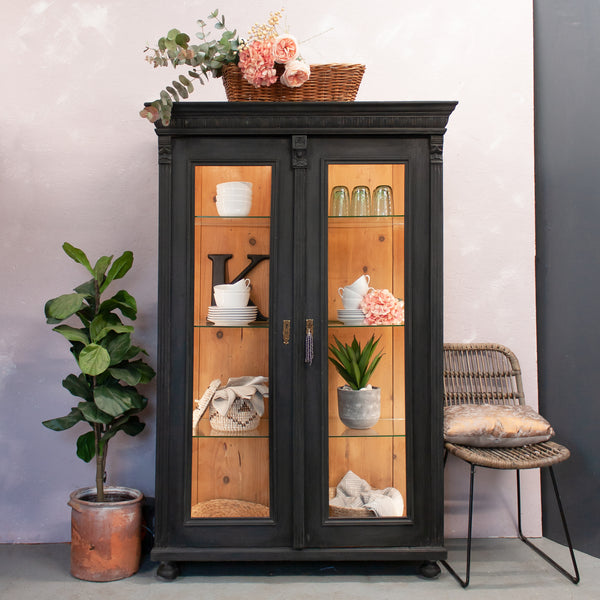 Bespoke vintage cabinet with backlighting and glass shelves