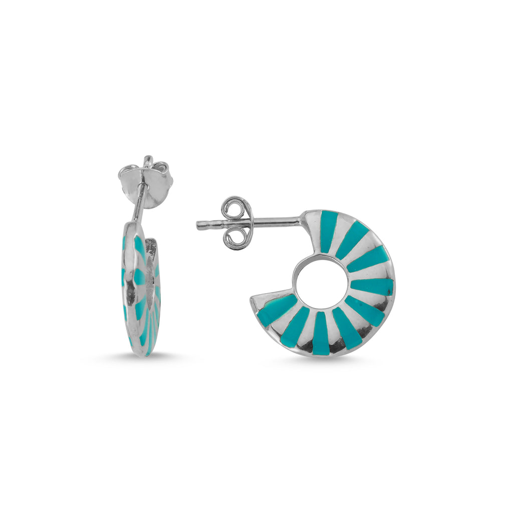 New Trend Blue Enamel Stripe Hoop Earring 925 Sterling Silver  Wholesale Fashionable Turkish Jewelry