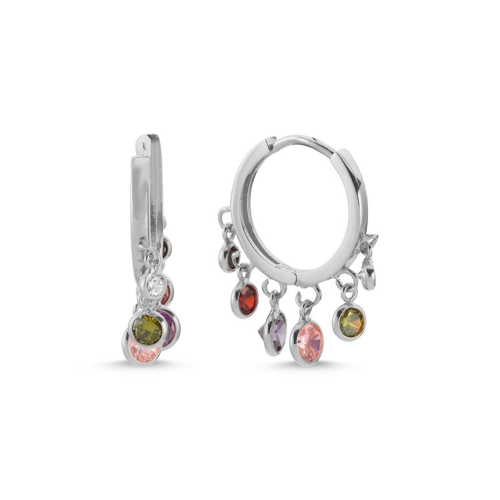 New Trend Colorful Zirconium Hanging Stones Dangle Earring 925 Sterling Silver   Wholesale Fashionable Turkish Jewelry