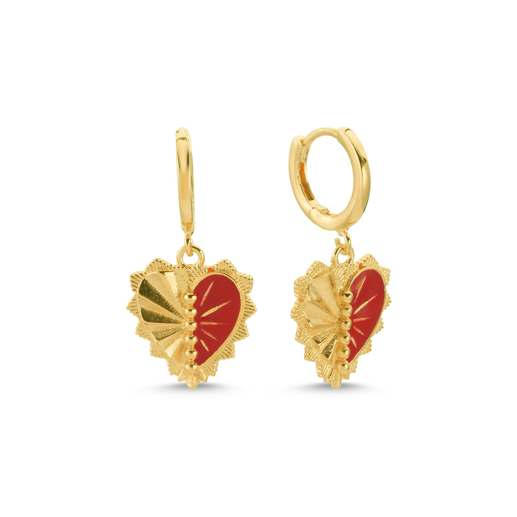 New Trend Red Heart Authentic Dangle Earring 925 Sterling Silver   Wholesale Fashionable Turkish Jewelry