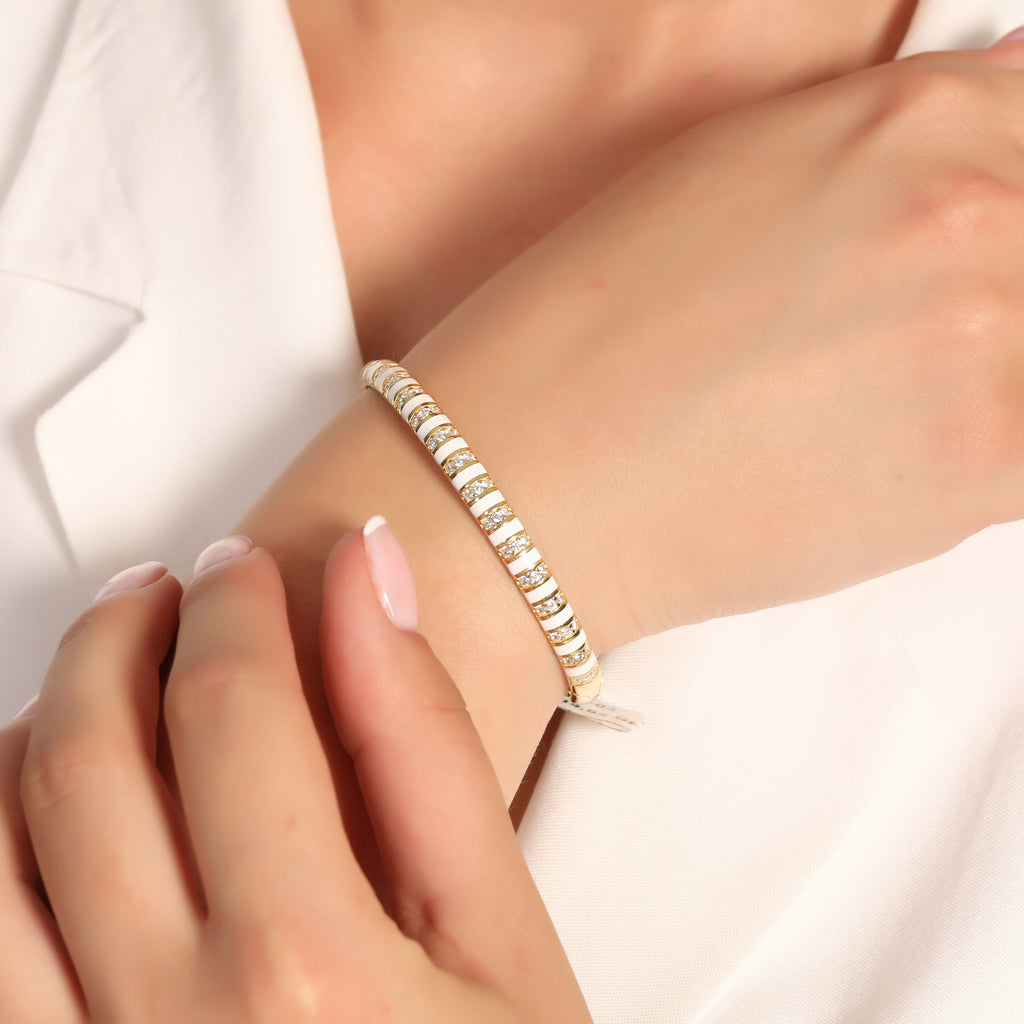 925 Crt Sterling Silver Zirconia Striped White Enamel Bangle Gold Plated Bracelet Wholesale Turkish Jewelry