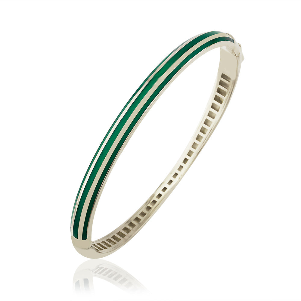 925 Crt Sterling Silver Striped Green Enamel Bangle Gold Plated Bracelet Wholesale Turkish Jewelry