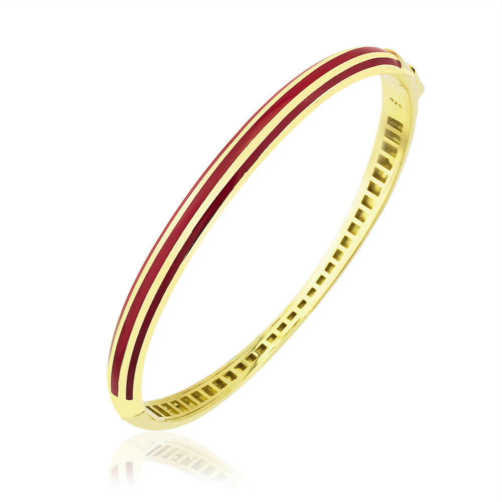 925 Crt Sterling Silver Striped Red Enamel Bangle Gold Plated Bracelet Wholesale Turkish Jewelry