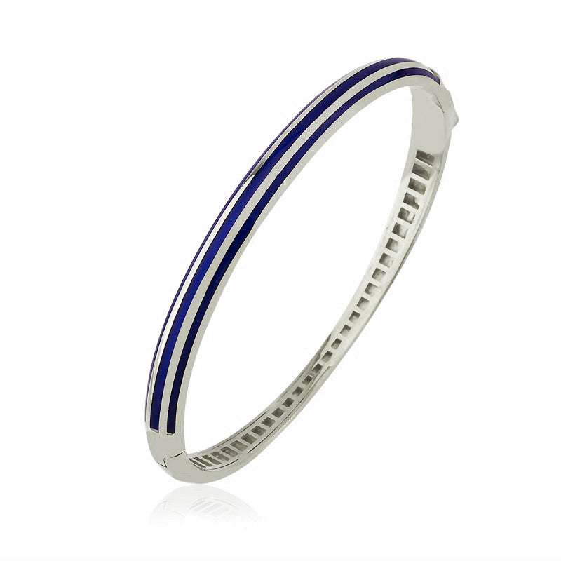Striped Navy Blue Enamel Bangle Gold Plated Bracelet Wholesale 925 Crt Sterling Silver  Turkish Jewelry