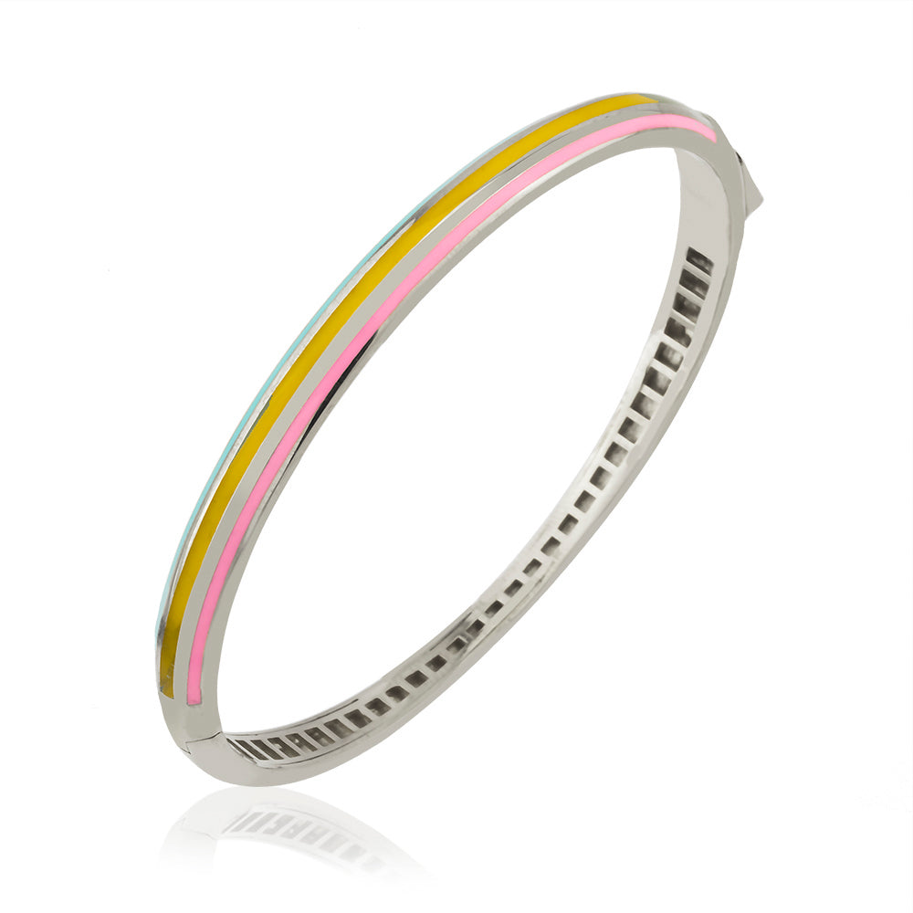 Colorful Striped Enamel Bangle Gold Plated Bracelet Wholesale 925 Crt Sterling Silver  Turkish Jewelry