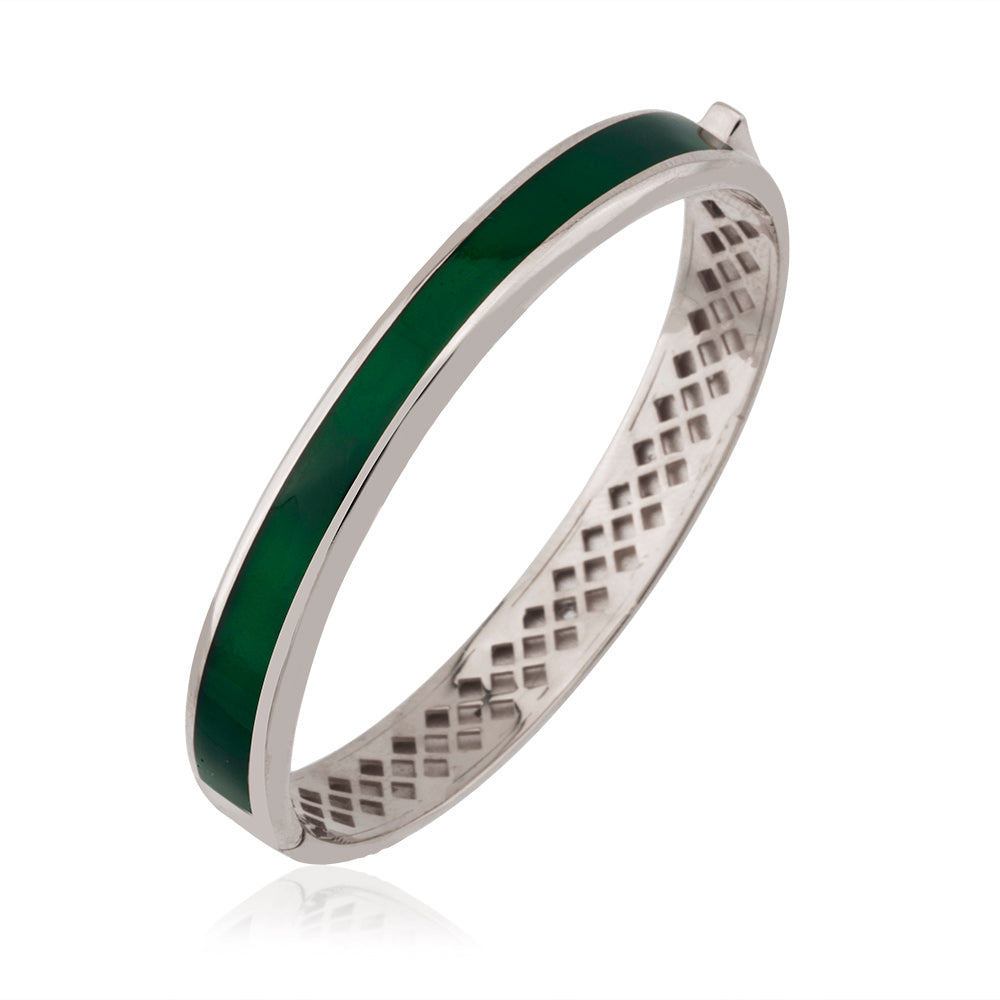 Green Enamel Bangle Gold Plated Bracelet Wholesale 925 Crt Sterling Silver  Turkish Jewelry