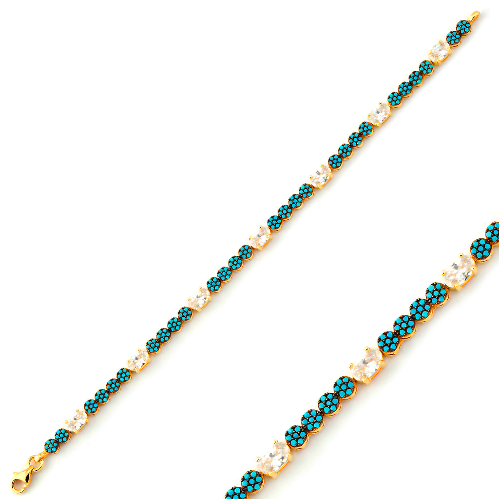 Round Turquoise One Zirconia Gold Plated Bracelet Wholesale 925 Crt Sterling Silver  Turkish Jewelry