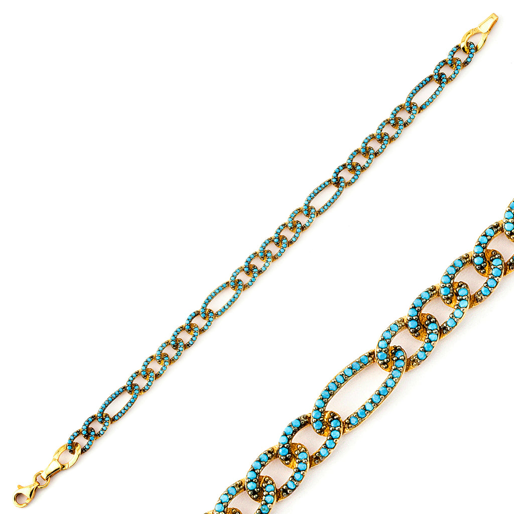 Turquoise Elongated Link Cuban Curb Gold Plated Bracelet 925 Crt Sterling Silver   Wholesale Turkish Jewelry