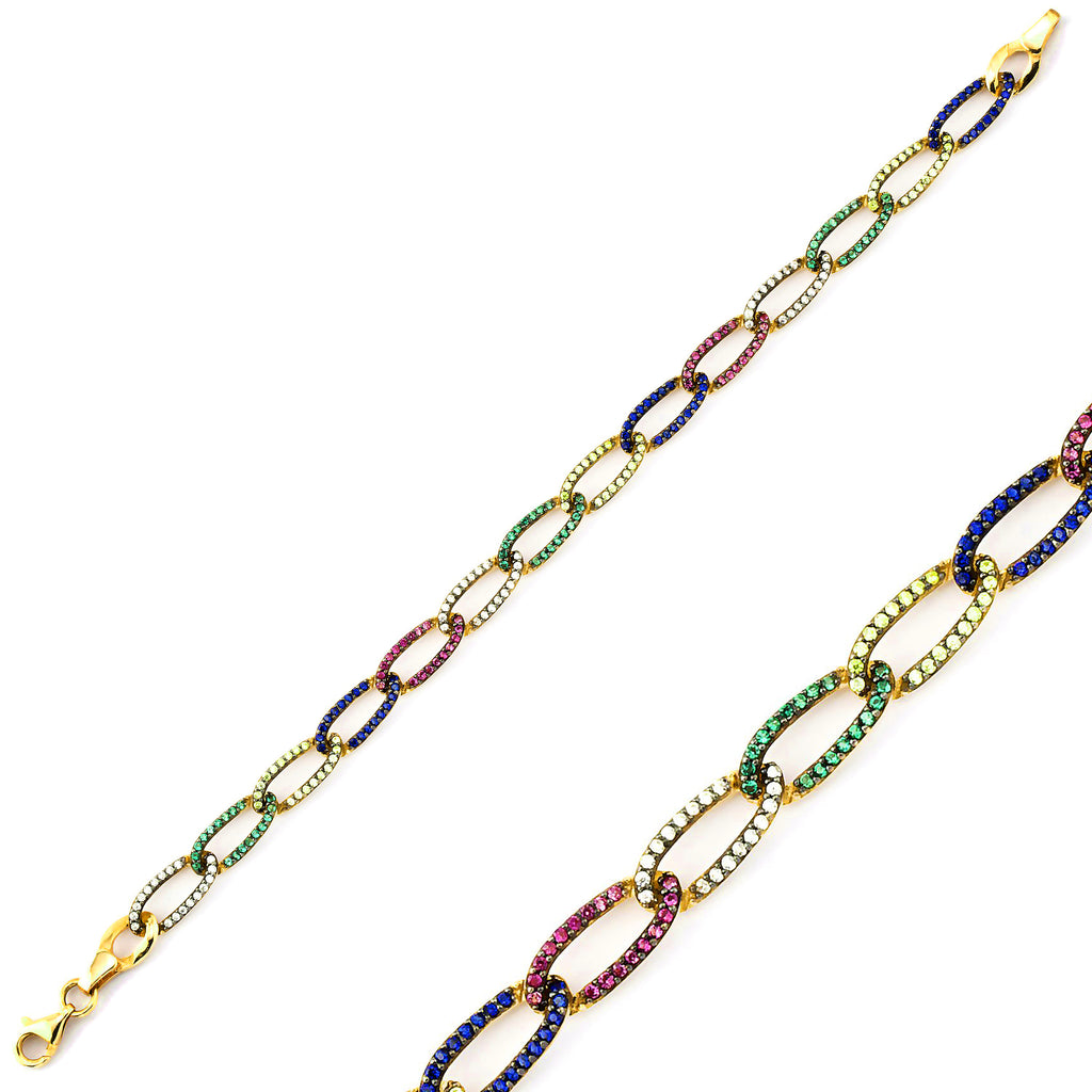 Colorful Zirconia Paperclip Chain Gold Plated Bracelet Wholesale 925 Crt Sterling Silver   Turkish Jewelry