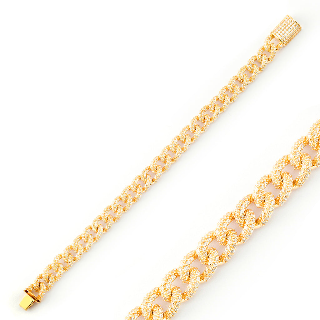 Big Zirconia Cuban Curb Gold Plated Bracelet Wholesale 925 Crt Sterling Silver  Turkish Jewelry