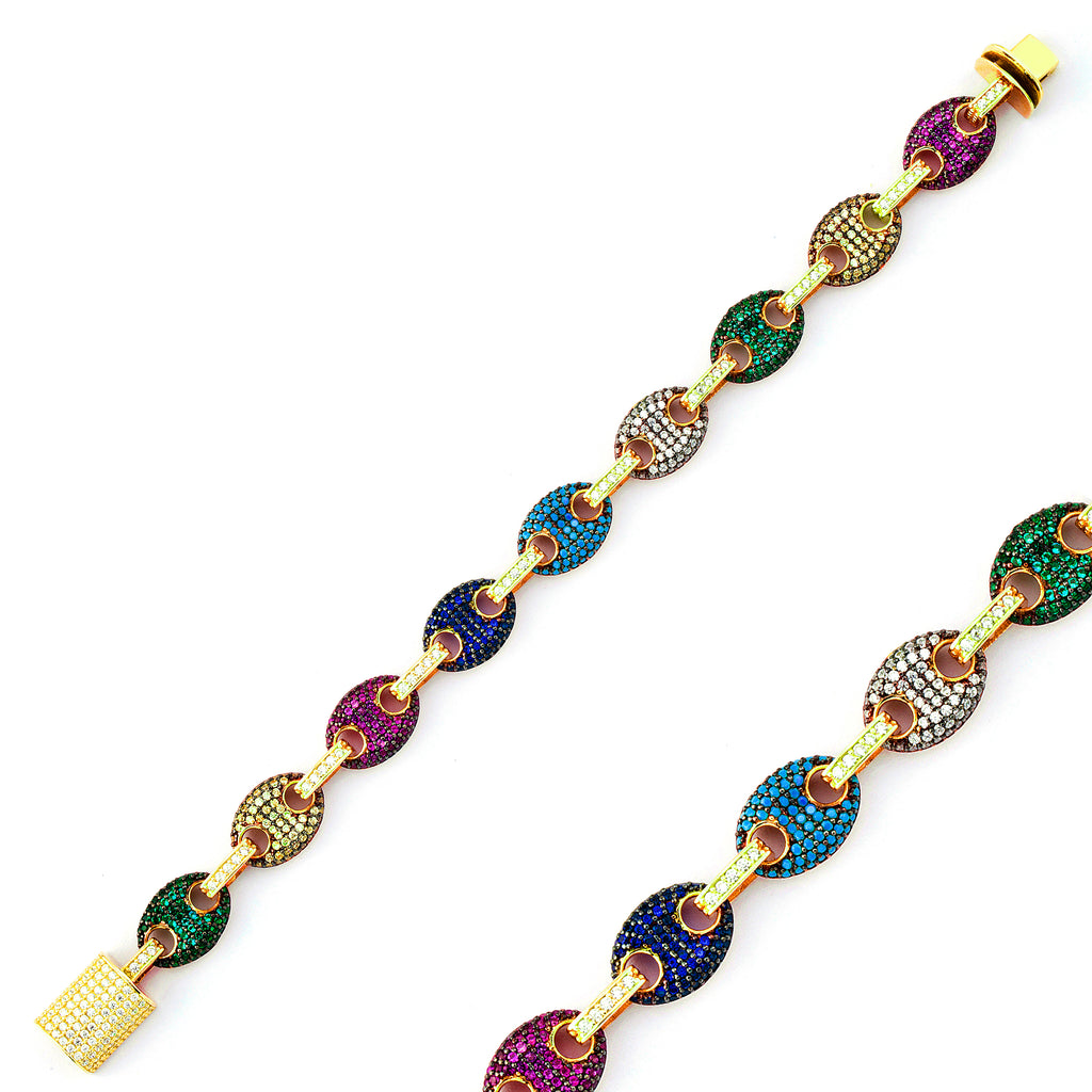 Colorful Zirconium Puffed Mariner Gold Plated Bracelet Wholesale 925 Crt Sterling Silver  Turkish Jewelry