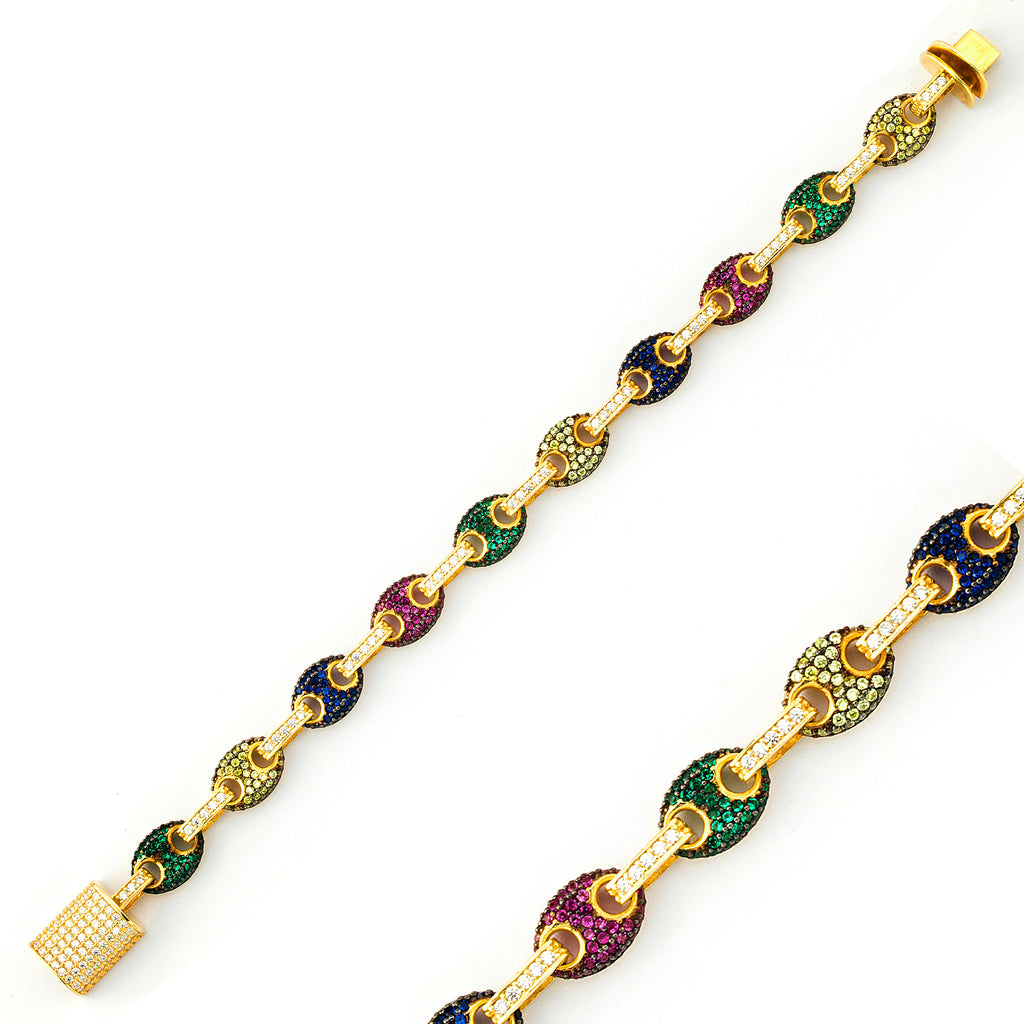 Small Colorful Zirconium Puffed Mariner Gold Plated Bracelet Wholesale 925 Crt Sterling Silver  Turkish Jewelry
