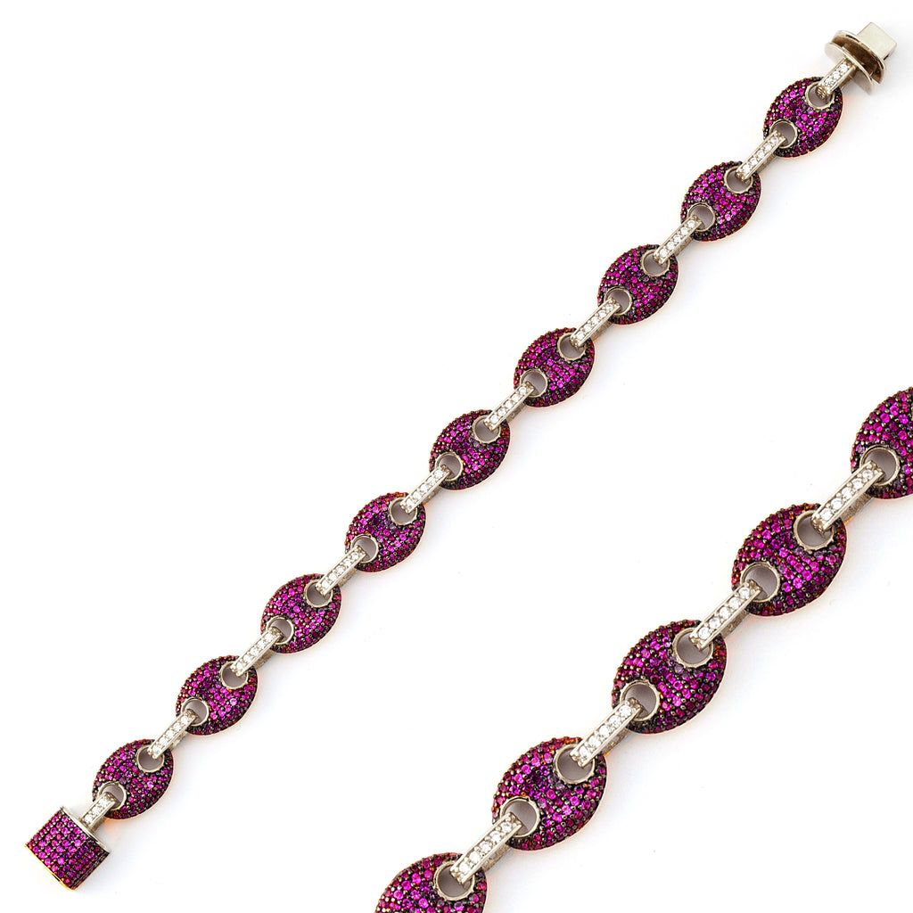 Pink Zirconium Puffed Mariner Gold Plated Tennis Bracelet Wholesale  925 Crt Sterling Silver   Turkish Jewelry