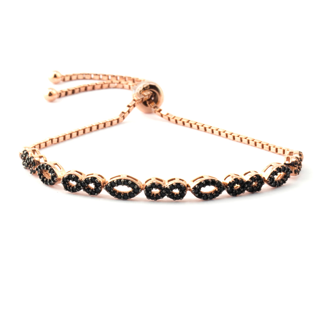 Black Zirconia Marquise Infinity Alternate Gold Plated Adjustable Bracelet Wholesale 925 Crt Sterling Silver  Turkish Jewelry