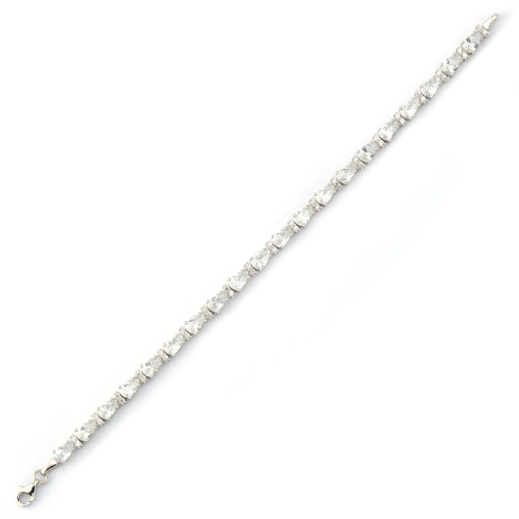 White Zirconium Drop Connected Gold Plated Tennis Bracelet Wholesale  925 Crt Sterling Silver  Turkish Jewelry