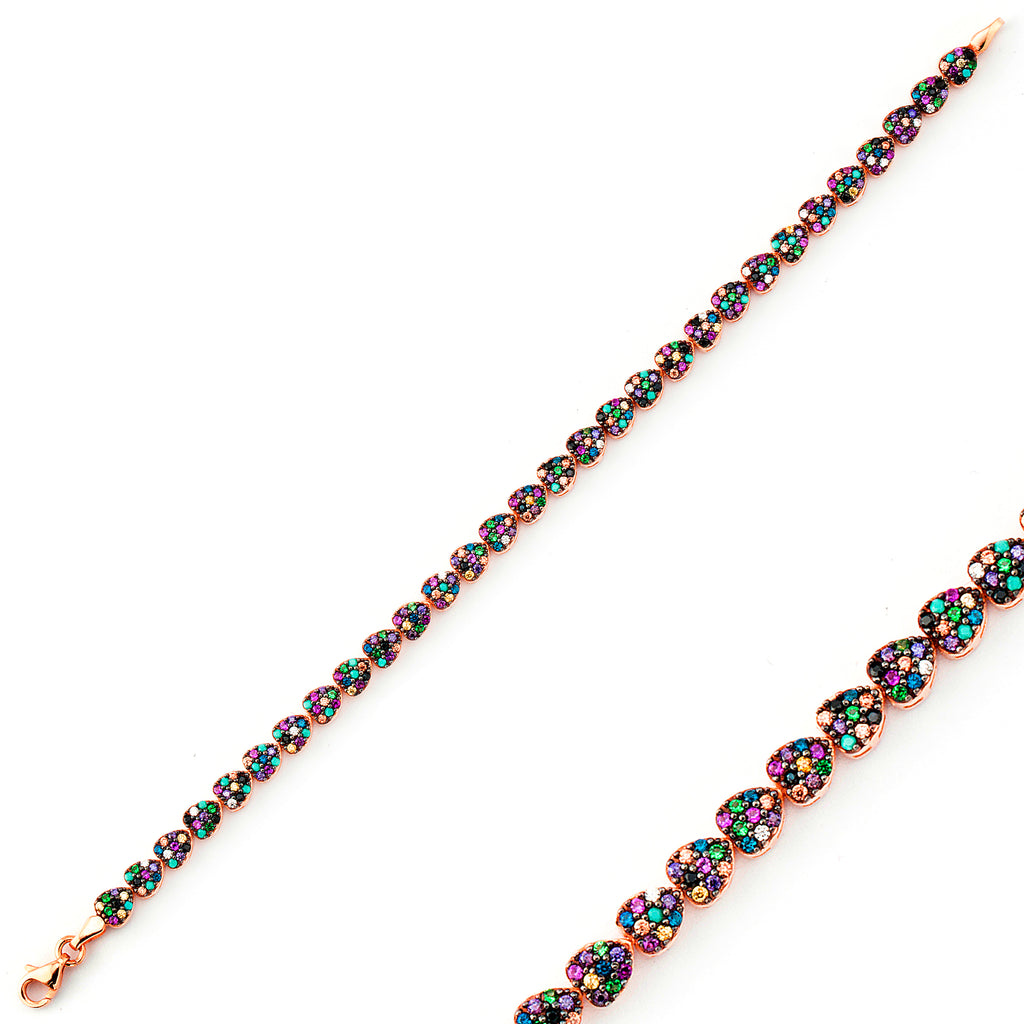 Multicolor Zirconium Mini Hearts Gold Plated Tennis Bracelet Wholesale  925 Crt Sterling Silver  Turkish Jewelry