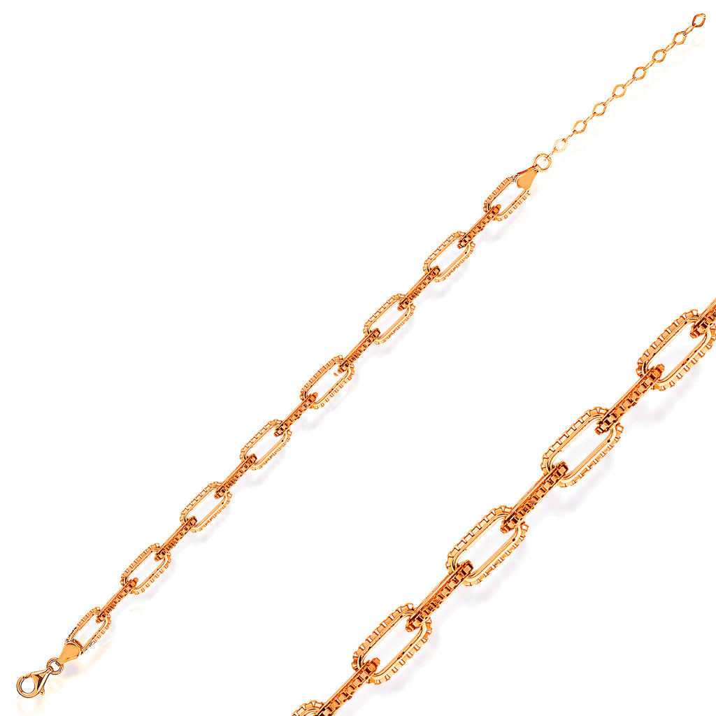 Box Paperclip Chain Gold Plated Trendy Bracelet Wholesale  925 Crt Sterling Silver Turkish Jewelry