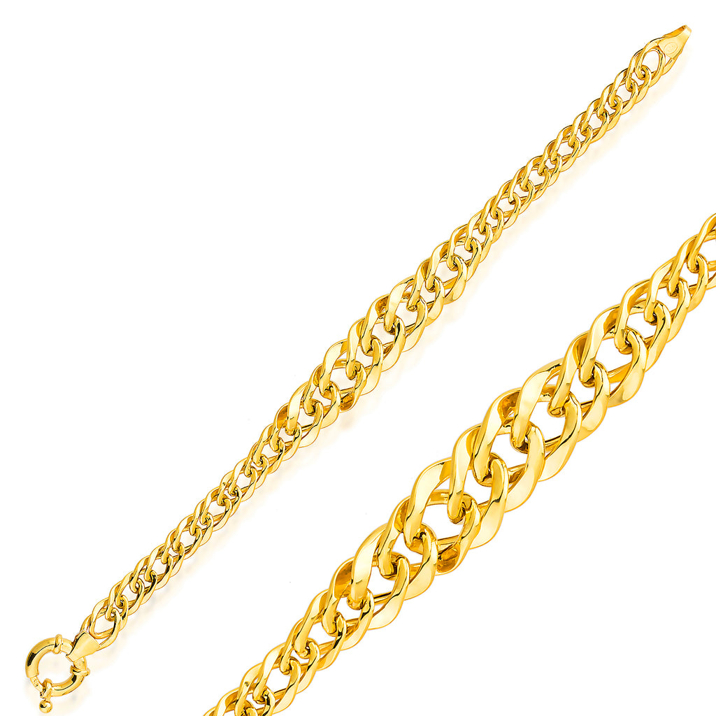 Thick Cuban Curb Chain-8 Gold Plated Trendy Bracelet Wholesale 925 Crt Sterling Silver Turkish Jewelry