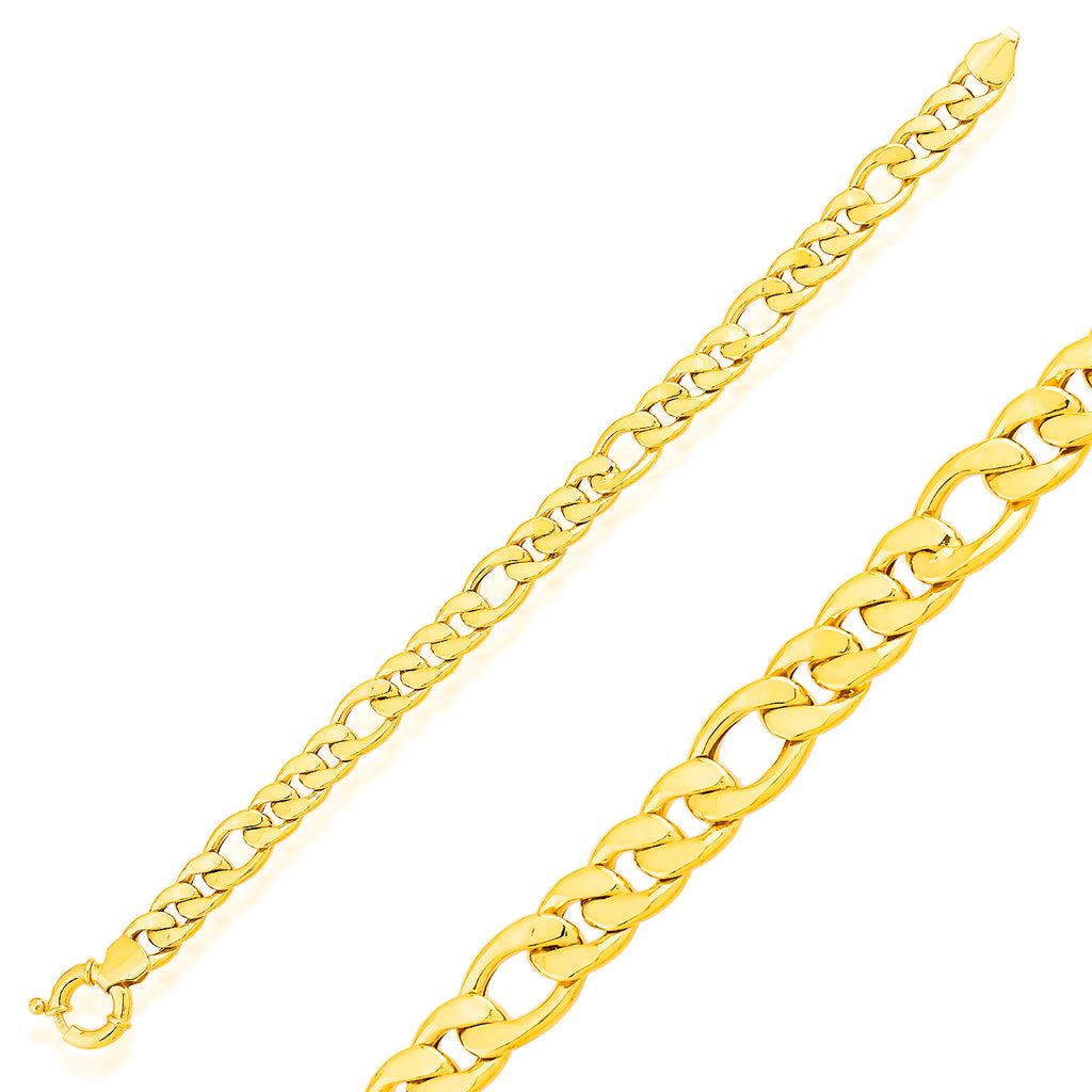 Thick Figaro Chain-2 Gold Plated Trendy Bracelet 925 Crt Sterling Silver Wholesale Turkish Jewelry