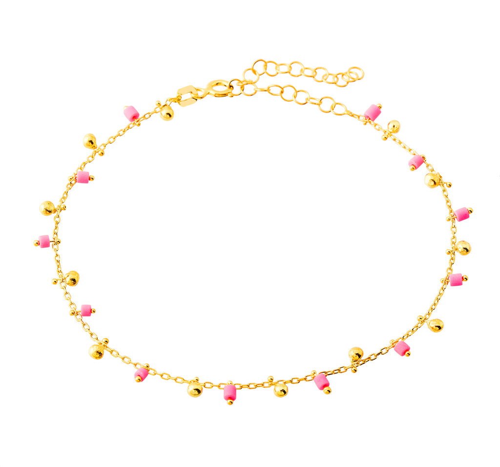 Pink Bead Gold Plated Bracelet Wholesale 925 Crt Sterling Silver Turkish Jewelry