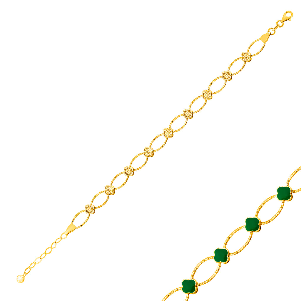 Reversible Zirconia Clover Green Enamel Gold Plated Bracelet Wholesale 925 Crt Sterling Silver Turkish Jewelry