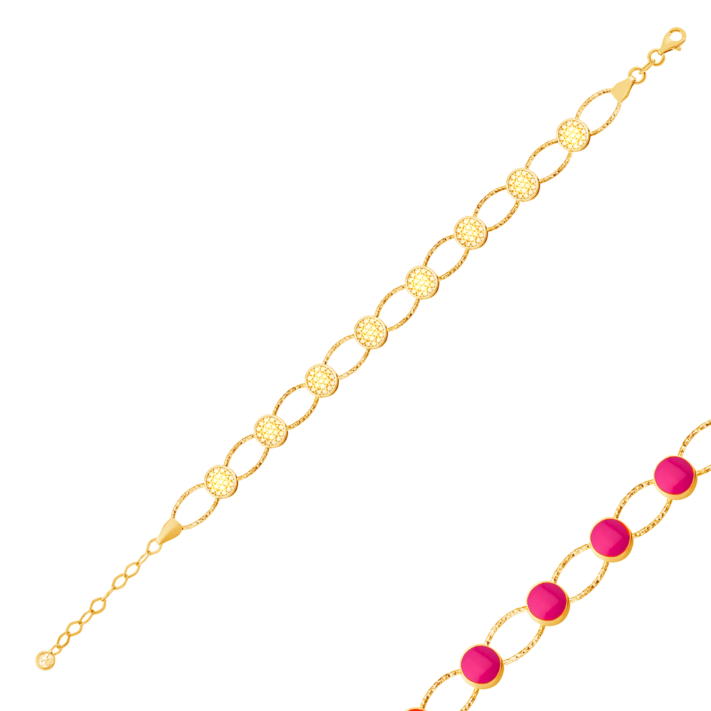 Reversible Round Zirconia Pink Enamel Gold Plated Bracelet Wholesale 925 Crt Sterling Silver Turkish Jewelry