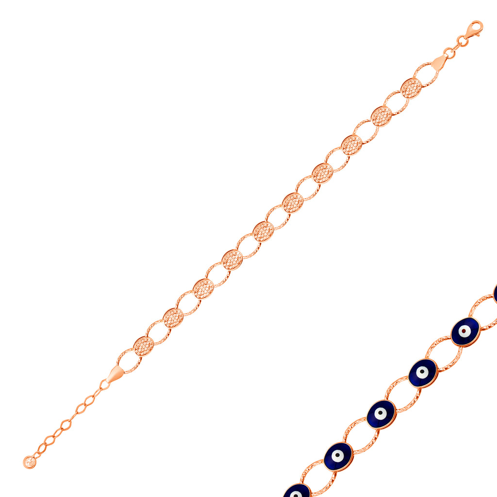 Reversible Oval Zirconia Navy Evileye Gold Plated Bracelet Wholesale 925 Crt Sterling Silver Turkish Jewelry