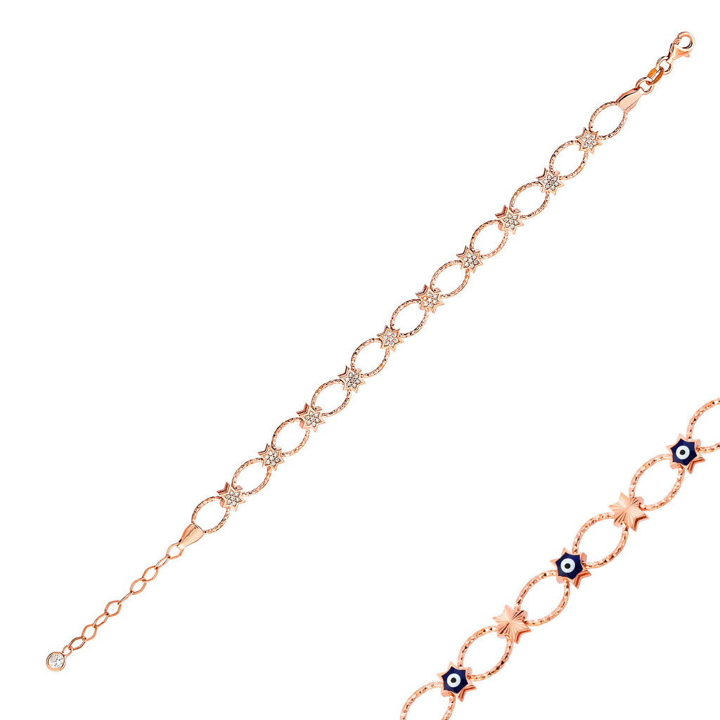 Reversible Star Zirconia Evileye Gold Plated Bracelet Wholesale 925 Crt Sterling Silver Turkish Jewelry