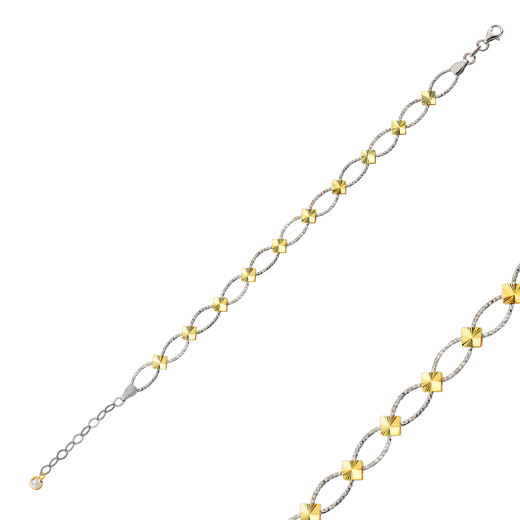 Fashionable Square Link Gold Plated Bracelet Wholesale 925 Crt Sterling Silver Turkish Jewelry