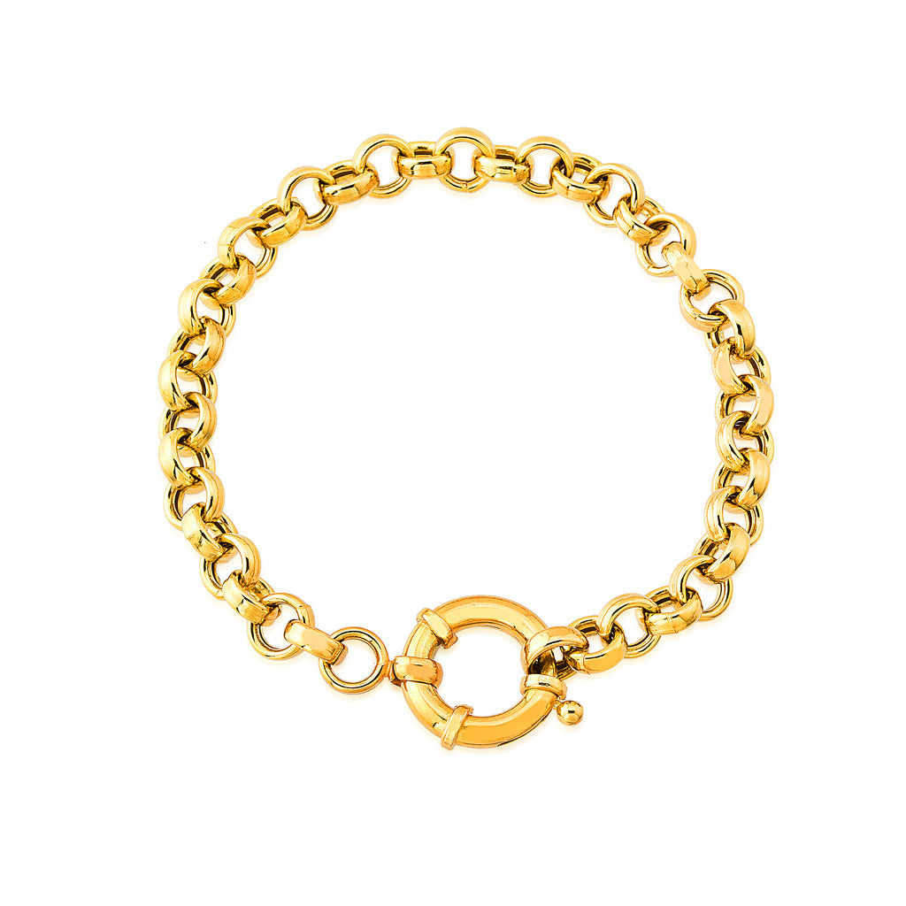 Nautical Spring Claps Cable Chain Gold Plated Bracelet Wholesale 925 Crt Sterling Silver Turkish Jewelry