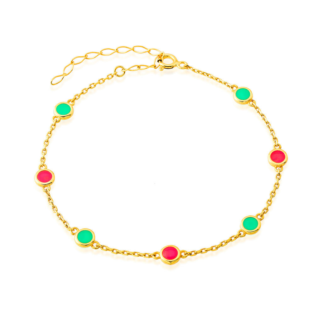 Colorful Enamel Coins Gold Plated Bracelet Wholesale 925 Crt Sterling Silver Turkish Jewelry