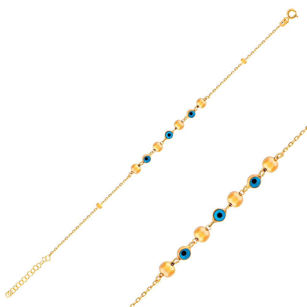 Alternate Evileye Bead Gold Plated Bracelet Wholesale 925 Crt Sterling Silver Turkish Jewelry