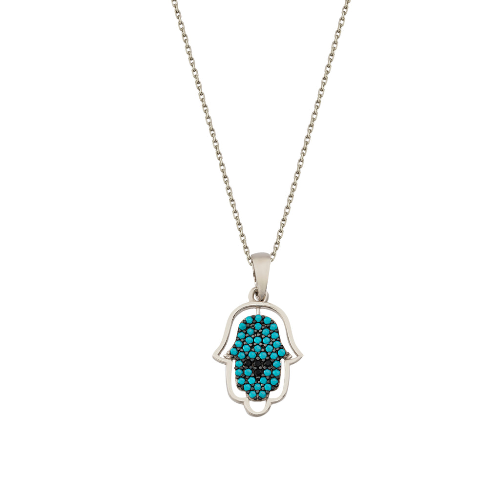 Fashionable Turquoise Hamsa Hand Necklace 925 Crt Sterling Silver Gold Plated Wholesale Turkish Jewelry